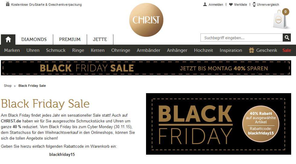 Christ Black Friday 40 Rabatt Auf Ausgewählte Artikel Black